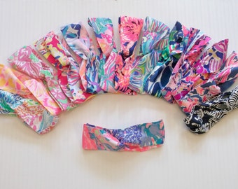 Preppy Wide Yoga Wrap Lilly Pulitzer Fabric Headband in Many Prints