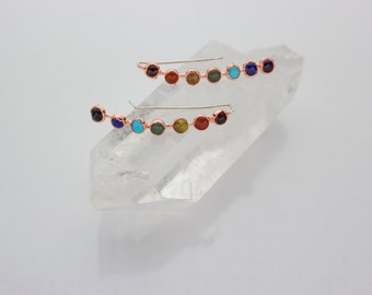 Chakra Ear Climbers / Chakra Jewelry / 7 Chakra Earrings / Rainbow Earrings / Chakra Crystals / Gemstone Chakra Jewelry / Sterling Silver