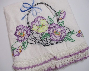 Vintage Embroidered Pillowcase Single-Floral-Violets-Pansy-Cottage Chic