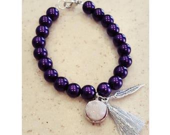 Purple feather druzy bracelet, Boho Purple Druzy bracelet, feather druzy bracelet, purple druzy bracelet, Druzy quartz bracelet, Druzy gift