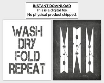 Chalkboard Laundry Printable, Clothespin Print, Laundry Poster, Laundry Sign, Set of 2, 8x10 Instant Download, White Black Laundry Wall Art