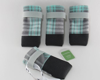 Dog Boots Tough NONslip bottom n toe warm fleece no toe seam protect from salt sharp ice FAST shipping FREE lasso to dry & keep together