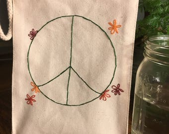 Hand Embroidered Reusable Lunch Bag, Recycled Cotton, Eco-Friendly, Peace