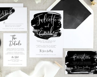 Calligraphy Wedding Invitation Suite Printed - Black Wedding Invitation Modern Wedding Invite - Printed Wedding Invitations Sets - Set of 10