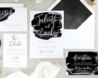 Calligraphy Wedding Invitation Suite Printed - Black Wedding Invitation Modern Wedding Invite - Printed Wedding Invitations Sets - Set of 10