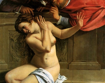 Artemisia Gentileschi : Susanna and the Elders (1610) Canvas Gallery Wrapped Giclee Wall Art Print (D60)