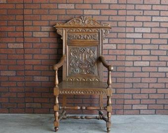Antique Wainscot Chair / English Carved Chair / Wooden Chair / Accent Chair / Oak Carved Back Chair / English Throne Chair