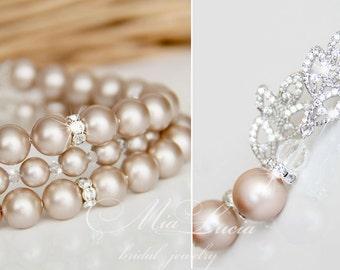 Champagne Bridal Jewelry Set, Almond Powder Pearl Bridal Jewelry Set, Champagne Earrings Bracelet Set, Almond bracelet earrings set e41-b10