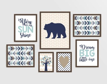 Boy nursery art printable nursery wall art woodland nursery decor navy light teal brown bear nursery quote tribal nursery art (m002)
