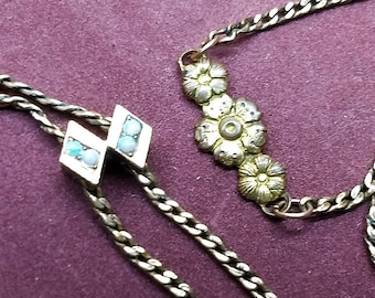 Antique Slide Necklace Double Opal Rolled Gold and Brass Stamp Stop Chain #C285