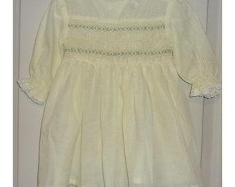 Vintage Polly Flinders Yellow Handsmocked Dress Size 2T