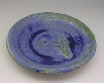 Pet Dish - Dog Dish - Pottery Pet Plate - Bone dish - Blue Dog Dish -  Pet plate - dog plate - small dog plate - Blue bone plate