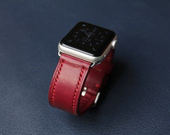 Handmade Leather Apple Watch Strap from HlavkaLeather - 100% handmade (handcut, handstitched) - Burgundy Elbamatt