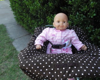 Brown with pink dots baby shopping cart cover/ high chair cover