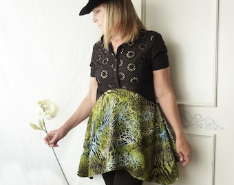 Upcycled recycled, black daisy, cutout eyelet top- Womens animal Print drape, size small to medium, Boho summer tunic, FREE SHIPPING