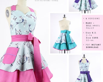 Sewing a Women's Retro Apron Pattern - Full Aprons with Sweetheart Neckline and Circle Skirts - DIY Apron - Instant Download - BambinoAmore