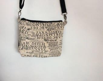 Steampunk Black and cream print canvas shoulder bag