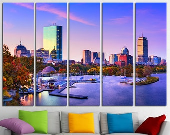 Boston Canvas Set Boston City Boston Skyline Boston Print Boston Photo  Boston Poster Boston Wall Art Massachusetts Boston Downtown