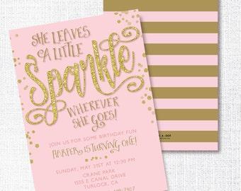 SHE LEAVES A little SPARKLE wherever she goes birthday invitation pink gold glitter blush pink gold stripe 1st first birthday invite