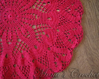 Hand Crocheted Red Hearts Doily for Home Decor   Red Doily   Red Centerpiece   Valentine Doily   Valentine Centerpiece