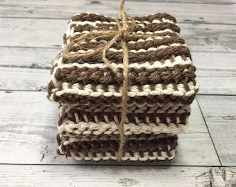Ribbed Dishcloths Set of 3 - Textured Dishcloth - Cotton Washcloth - Kitchen Dishcloth - Reusable Dishcloth