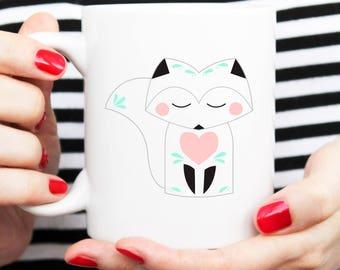 fox mug, scandi mug, nordic mug, modern mug, illustrated mug, the little boom, sleeping fox
