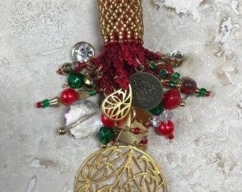 Light Fan Ball Chain Pull - Beaded Tassel - Red & Gold Elegance