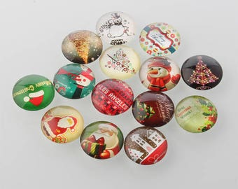 10 Christmas Xmas Mixed Design Round Glass Cabochons 12mm (057)