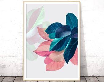 Plant Prints, Tropical Wall Art, Leaf Poster, Pink and Blue, Digital Download, Housewarming Gift, Apartment Decor, Bedroom Art, Botanical