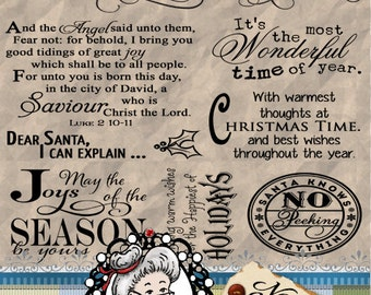 Christmas 6 - Word Art, Clipart, Sentiments, Digital Stamp, Digi, Photography Overlay, Printable, Instant Download ID:NV-WA0055 By Nana Vic