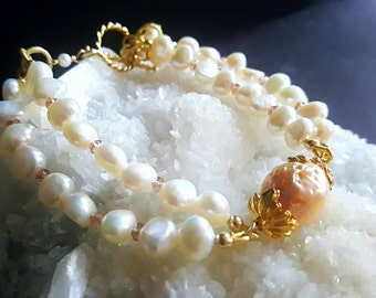 40% Off Freshwater Pearl Champagne Topaz with Kasumi Like Pearl 2 strand Bracelet in Gold Vermeil Bridal Jewelry