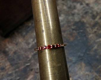 14k Yellow Gold Thin Stackable Mozambique Garnet Ring - 7 stone stackable