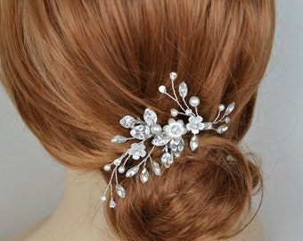 Bridal Hair Vine Clip Swarovski Pearls Swarovski Crystal Leaves Flowers Silver Tone Wedding Headpiece - Ships in 3-5 Business Days