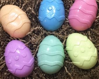 Set of 6 Easter egg soaps, goats milk, different fragrances