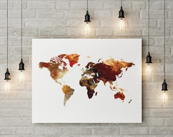 World map, world map poster, world map art, travel map, large map, world map print, gift, home decor, art decor