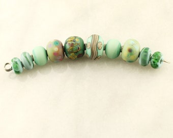 Lampwork Beads Set Organic, Etched Matte Glass, Rustic, Turquoise, Aqua, Teal, Green, Blue