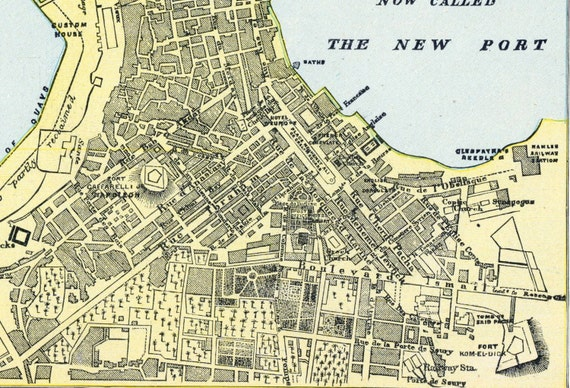 1888 Vintage Map of Alexandria Egypt Old Street Map of