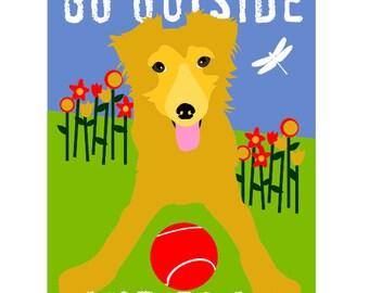Kids Wall Art, Go Outside and Play, Dog Childrens Print, Dog Decor, Classroom Art, Golden Retriever Art, Wall Decor Poster