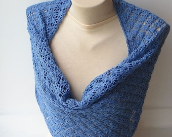 Infinity shawl, Cotton lace scarf, Womens scarf, Blue scarf, Crocheted showl, Blue knit scarf, Crochet cotton scarf, Infinity scarf.