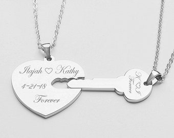 Couples Jewelry, His And Hers Necklaces, Silver Heart & Key Necklace Set Engraved Free, Personalized Anniversary Gifts, Key To My Heart
