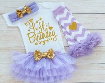 Half Birthday Girl, 6 Month Birthday Bodysuit, Baby Half Birthday Shirt, Cake Smash Outfit, Half Birthday Outfit Girl, 1/2 Way To One Shirt