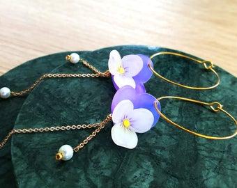 Floral hoop earring ,Violet , Flower, Purple , Elegant  , Floral - earring -Custom made
