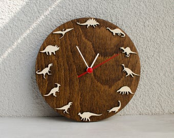 Dinosaurs Wooden wall clock kids gift, Dino clock decoration ideas for kids room
