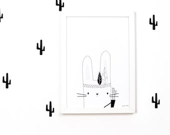 Wall decals / wall stickers 28 cacti black