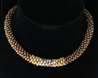 Beaded Kumihimo Chunky Choker in Browns and Golds with Free Shipping!