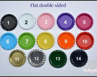Double sided flat bottlecaps, metal caps, bci, double sided, metal bottlecap, hair bow supply, craft supply