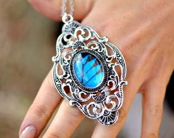 Real Butterfly Jewelry Royal blue necklace Victorian necklace Large silver pendant Victorian pendantCornflower blue Royal blue jewelry