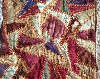 VINTAGE QUILT BLOCK crazy quilt piece, ooak, embroidery stitches, hand work