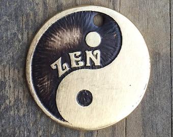Yin Yang Dog Tag , Etched Pet Tag , Brass Dog ID Tag