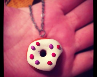 Doughnut Necklace (medium) with Red, Purple and Pink Sprinkles